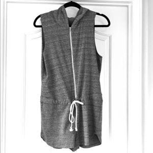 Hooded zip up sleeveless romper
